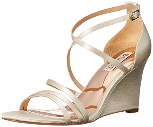 Badgley Mischka Women's Bonanza Wedge Sandal, Ivory, 8.5 M US - Ivory Dress Sandals