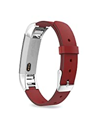 "Fitbit Alta HR and Alta Bands, MoKo Premium Soft Genuine Leather Replacement Strap for Fitbit Alta / Fitbit Alta HR, Fits 5.31""-8.07"" (135mm-205mm) Wrist, RED"