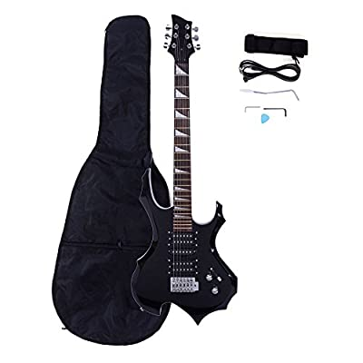 Z ZTDM Black Electric Guitar with Case and Accessories Pack Beginner Starter Package