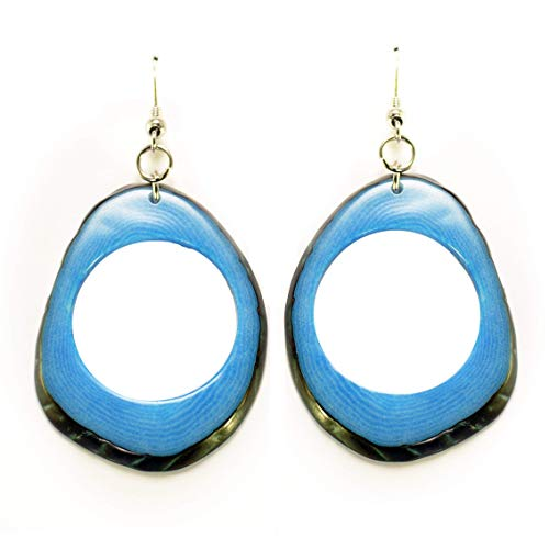 Slices Tagua Earrings Blue Handmade