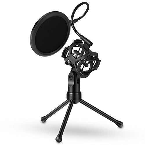 Venoro Desktop Microphone Suspension Tripod Stand with Shock Mount Microphone Holder and Pop Filter Mask Shield for Studio Vocal Recording Podcasts, Broadcast, Online Chat, Meetings and Lectures by Venoro