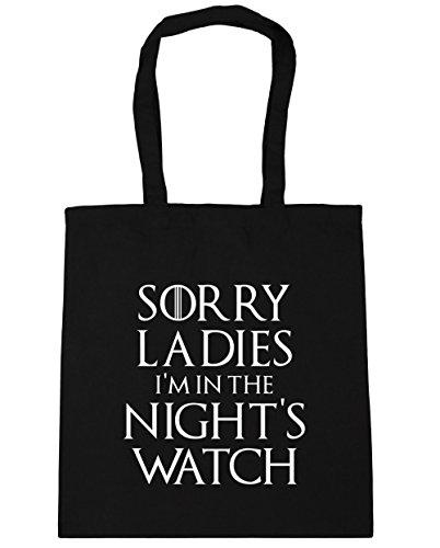 HippoWarehouse Sorry ladies I 'm en la noche reloj de bolsa de la compra bolsa de playa 42cm x38cm, 10litros negro