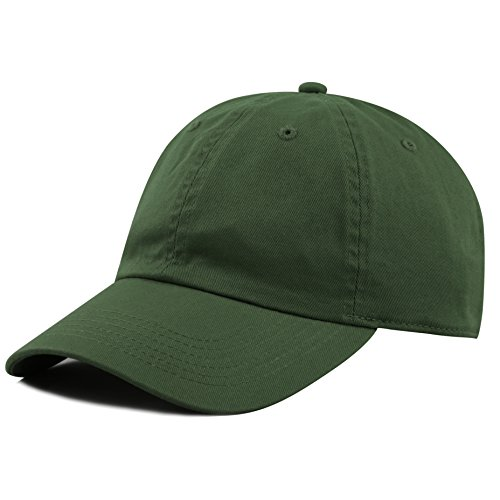 The Hat Depot 300N Washed Low Profile Cotton And Denim Baseball Cap  Dark Green