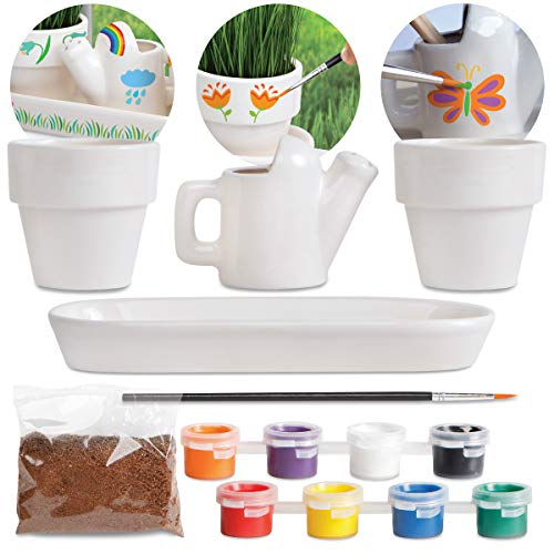 DISCOVERY MINDBLOWN DIY Windowsill Garden, Paint and Decorate Mini Ceramic Planters, Watering Can, and Tray, Includes Vermiculite, Grass Seed, Paint Brush, 8 Paint Colors, Mini Rake, Shovel, and Hoe]()