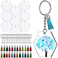 SNOWINSPRING 72Pcs Acrylic Transparent Discs Hexagon Keychain Blanks Charms and Tassel Pendants Keyring with Chain for…