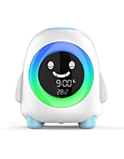 Amouhom kinderwekker, Wake-up light cartoon digitale klok met LED-nachtlampje Met 7 kleurwisselingen en temperatuurkalender De slaapkamer en woonkamer van het kind beste cadeau .
