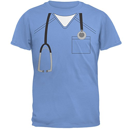 Old Glory Halloween Doctor Scrubs Costume Carolina Blue Adult T-Shirt - -