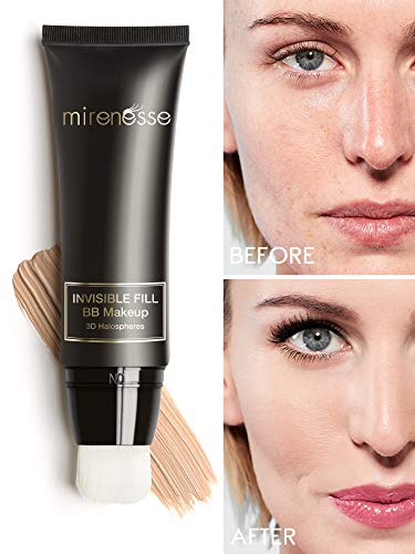 Mirenesse BB Perfect Invisible Fill BB Make Up, Universal Tinted Moisturizer, Primer Airbrush Soft Focus BB Cream, Sensitive Skin Formulation, Vegan & Toxin Free, 1.35oz ()
