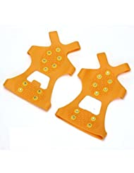 CARCHET® Pair Crampons Anti Skid Over Shoe Spikes Grips Cleats Portable Ice Snow Orange L