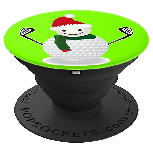 (Golf Snowman Funny Christmas Golf Lover Gift - Grass Green - PopSockets Grip and Stand for Phones and)