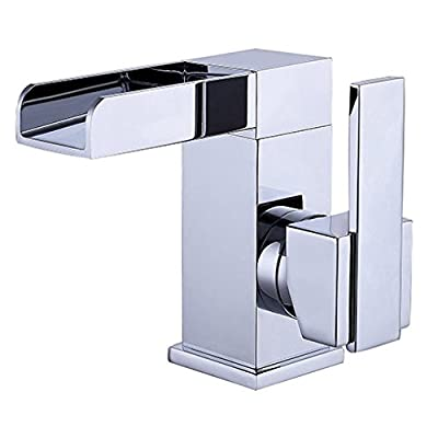 JiaYouJia Waterfall One Hole Bathroom Sink Faucet Chrome with Single Handle