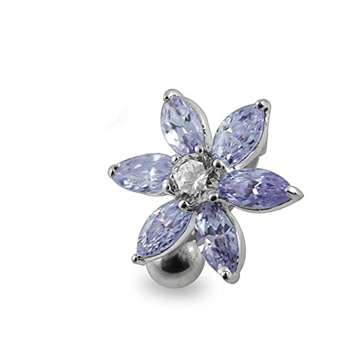 Lavender Crystal Stone Fashion Flower Reverse Bar 925 Sterling Silver with Stainless Steel Belly Button Rings ()