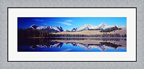 Little Redfish Lake Mountains ID USA by Panoramic Images Framed Art Print Wall Picture, Flat Silver Frame, 35 x 17 inches (Framed Redfish)