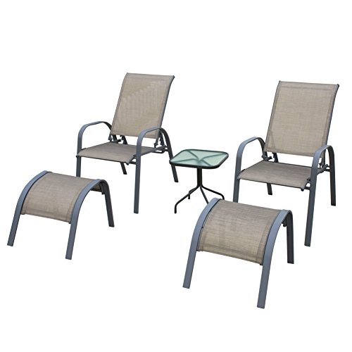 NatureFun 5 Piece Outdoor Sling Bistro Set, Patio Garden Conversation and Coffee Set, Grey (Set Reclining Ottoman)