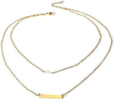 Blisfille Collar Dorado Doble Colgante Acero Gato Colgantes Mujer ...
