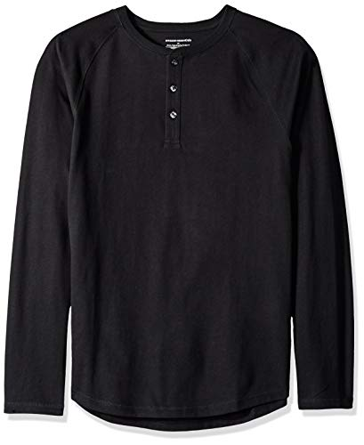 Amazon Essentials Men's Slim-Fit Long-Sleeve Henley Shirt, Black, X-Small