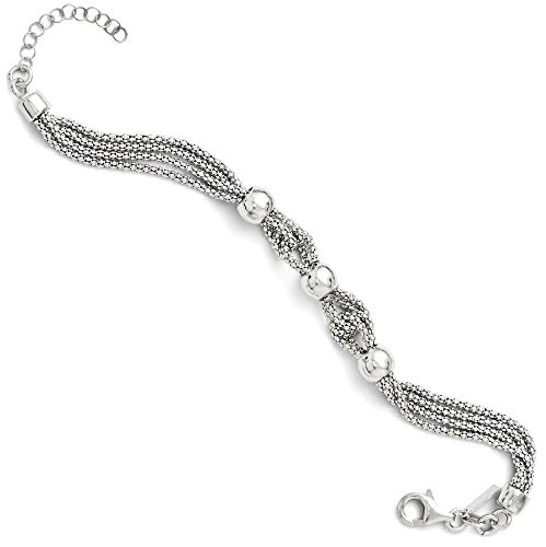 ICE CARATS 925 Sterling Silver 4 Strand Beaded Bracelet 1 Inch Extension 7.50 Fancy Chain Beadsed Fine Jewelry Gift Set For Women Heart by ICE CARATS