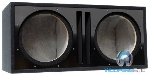Absolute USA PDEB12BK Dual 12-Inch 3/4-Inch MDF Twin Port Subwoofer Enclosure with Black High Gloss Face - Port Twin