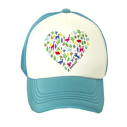 Heart on Toddler Trucker Hat. The Toddler Baseball Cap is Available in Baby, Toddler Adult Sizes. (Mini 12-24 Mos, Teal) by JP DOoDLES