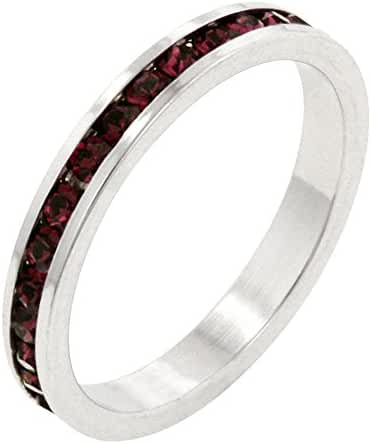 Stylish Stackables with Simulated Ruby CZ Ring - Size 6