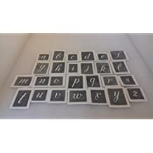 "50 x alphabet lower case large size letter stencils (1.5"") mixed for etching on glass present hobby gift etch glassware"