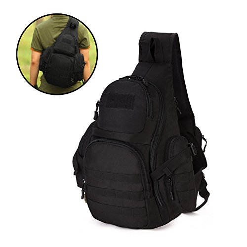 Duty Chest (Wowelife Tactical Sling Pack Backpack Military Shoulder Chest Bag Crossbody Duty Gear For Hunting Camping Trekking (Black))