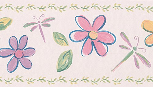Yellow Red Purple Flowers Dragonfly Lady Bugs Blush Pink Wallpaper Border for Kids, Roll 15' x ()