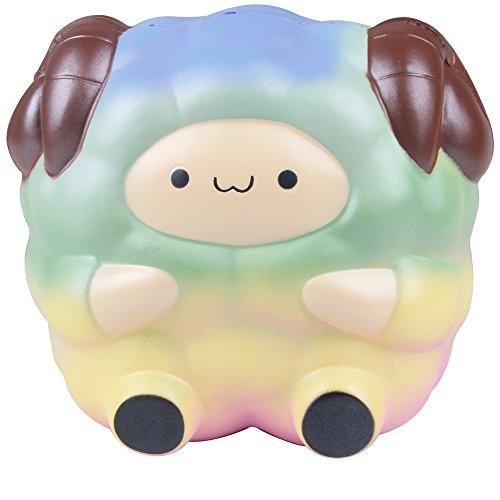 AIKEMI New Year 6.5 Slow Rising Squishies Slice Jumbo Soft Rainbow Sheep Cream Scented Squeeze Hand Wrist Christmas Gifts (sheep)