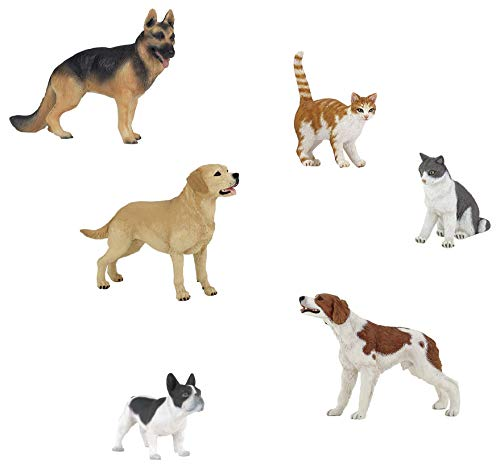 Papo Pet Figurine Bundle - Epagneul Breton, Black and White French Bulldog, Labrador, Red Cat, Cat Sitting Down, German Shepherd