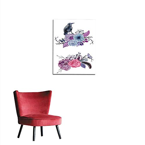 Unprecall Wall Paper Watercolor Raven with Flowers Hand