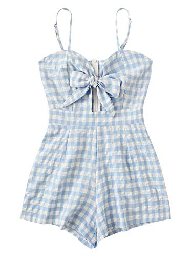 WDIRARA Women's Casual Tie Knot Plaid Print Spaghetti Strap Cami Romper Bodysuit Blue ()