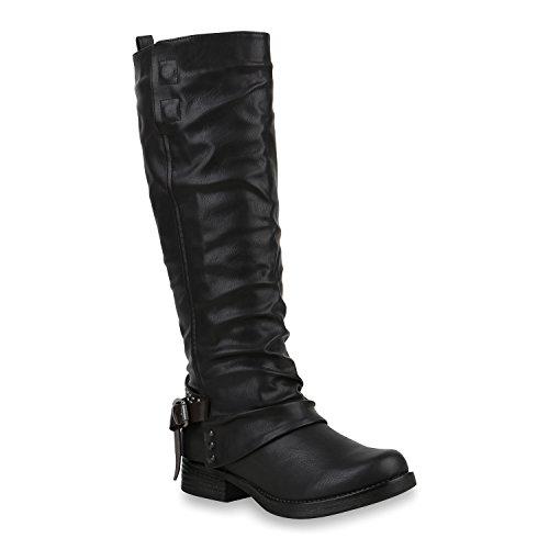 Stiefelparadies Klassische Damen Stiefel Leder-Optik Schuhe Boots Blockabsatz Schnallen Ösen Schnürungen Modische Langschaftfstiefel Flandell Schwarz Brito