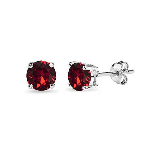 Sterling Silver 5mm Round Red Stud Earrings created with Swarovski - Silver Red