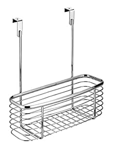 InterDesign Axis Over the Cabinet Kitchen Storage Organizer Basket for Aluminum Foil, Sandwich Bags, Cleaning Supplies - Small, Chrome