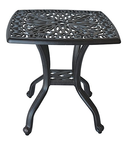 K B PATIO LD777E Elizabeth Square End Table, Antique Bronze