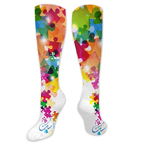 Puzzle Square Pattern Polyester Cotton Over Knee Leg High Socks Prints Unisex Thigh Stockings Cosplay Boot Long Tube Socks for Sports Gym Yoga Hiking Cycling Running Football