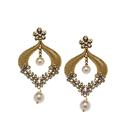 cheap Bindhani Indian Bollywood Style Bridal Wedding Earrings For Women (White) big discount