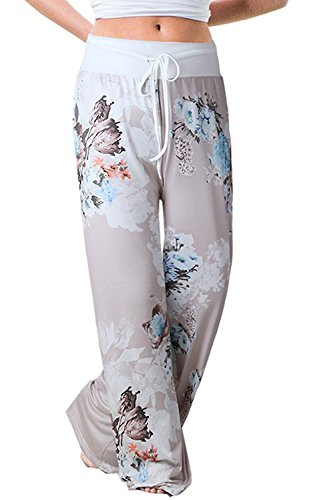 NEWCOSPLAY Women's Comfy Stretch Floral Print High Waist Drawstring Palazzo Wide Leg Pants (XL, 0477grey)