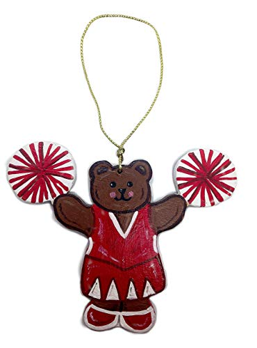 Cheerleader Bear Wooden Ornament -