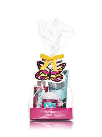 Bath & Body Works HELLO BEAUTIFUL - One of a Kind Gift Set - Ultra Shea Body Cream (2.5 oz) - Fine Fragrance Mist (3 fl oz) and Small Hand Sanitizer