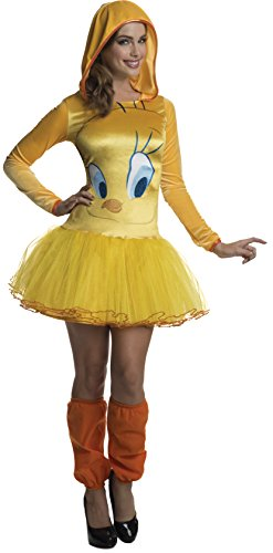 [Rubie's Costume Co Women's Looney Tunes Tweety Hooded Costume Dress, Yellow, Large] (Bird Costumes Women)