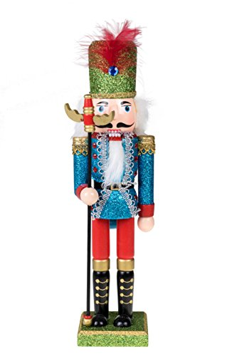 Traditional Wooden Soldier Nutcracker with Staff by Clever Creations | Blue and Green Glitter Uniform | Festive Ornate Christmas Decor | 12