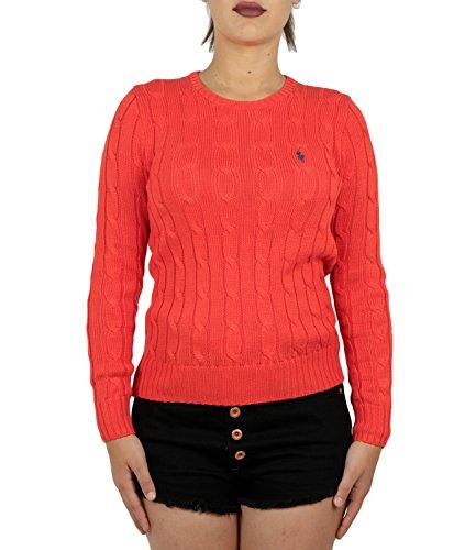 Donna In Girocollo Acceso Polo Rosso Maglia Ralph Trecce Lauren Cotone A 1wfEqaxf