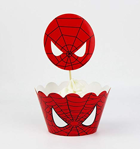 24pc Spider-Man Cupcake Topper and Cupcake Wrapper Picks Boy Children Superhero Party Decoration Kid's Birthday Avengers Party Decoration Supplies -