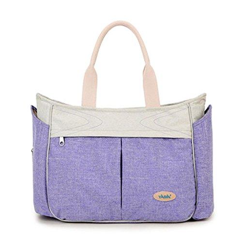 Bolso cambiante del bebé que cambia el bolso que cambia del pañal de múltiples funciones - grande, manera, bolso abierto ancho durable del recorrido de la mochila del pañal del bebé , pink Purple