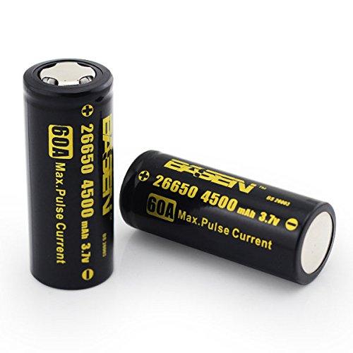 bazaar-2pcs-basen-bs26003-26650-4500mah-37v-60a-unprotect-flat-top-rechargeable-li-ion-battery