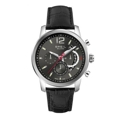 BRAND NEW Breil Men's Chronograph Miglia Black Leather Band Watch TW1261