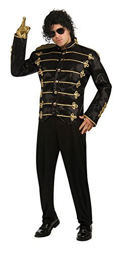 Famous Pop Star Costumes (Michael Jackson Deluxe Military Jacket, Red, Large Costume)