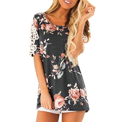〓COOlCCI〓Women's Round Neck Short Sleeve Floral Print Lace Shirt Top T Shirt Casual Loose Fit Tunic Tops Blouse Black ()