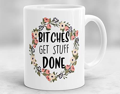 (Bitches Get Stuff Done Mug Tina Fey Mug Feminist Mug Bitch Quote Cup Girl Power Mug Boss Lady Mug)